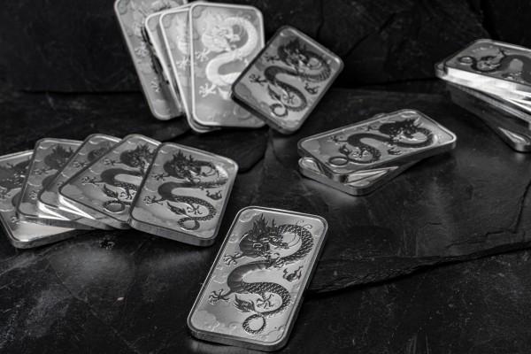 1 Unze Silber - Dragon Bar - Drachenbarren Australien 2019