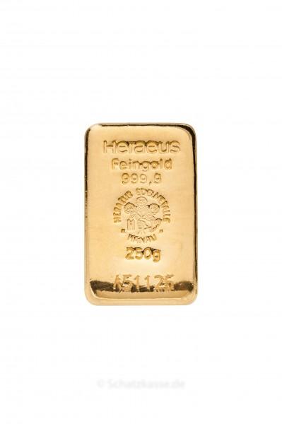 250 Gramm Goldbarren Heraeus