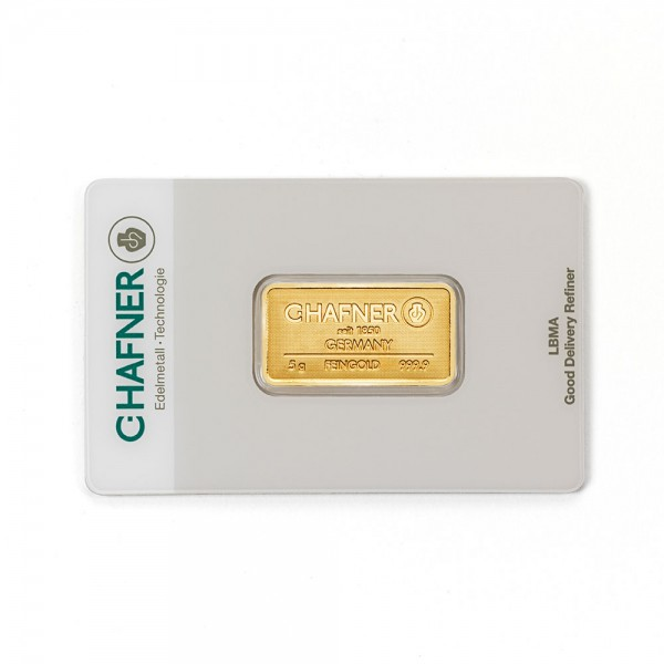 5 Gramm Goldbarren geprägt C.Hafner