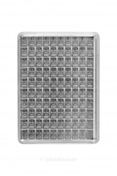 100 Gramm Tafelbarren Silber (100 x 1g teilbar)